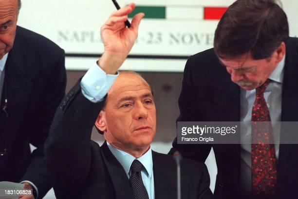 Italian Prime Minister Silvio Berlusconi attends a UN world ministerial conference on organized transnational crime on November 22 1994 in Naples...