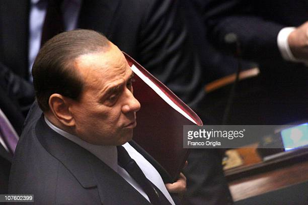 Italian Prime Minister Silvio Berlusconi attends the confidence vote to his government at the Lower house on December 14, 2010 in Rome, Italy....