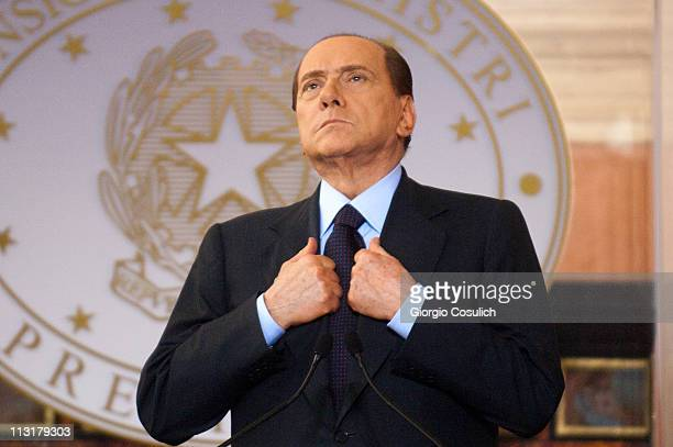 Italian Prime Minister Silvio Berlusconi attends the ItalyFrance Summit with French President Nicolas Sarkozy at Villa Madama on April 26 2011 in...