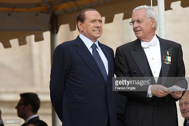 Italian Prime Minister Silvio Berlusconi attends the John Paul II Beatification Ceremony held by Pope Benedict XVI on May 1 2011 in Vatican City...