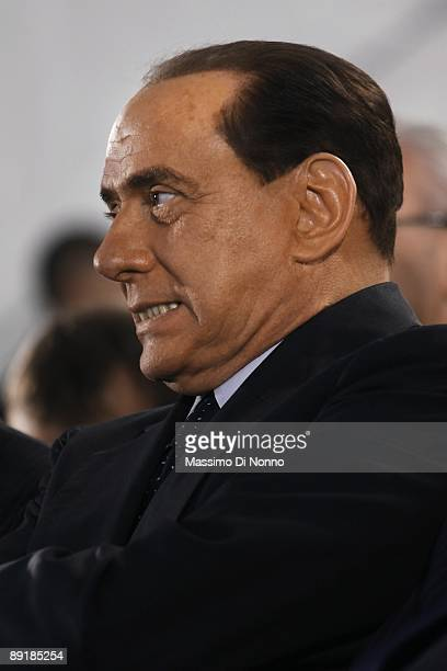 Italian Prime Minister Silvio Berlusconi attends the opening of the construction site for the new Brescia, Bergamo, Milano Highway on July 22, 2009...