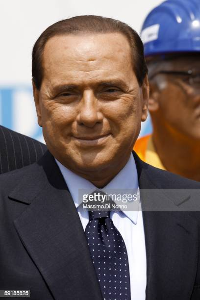 Italian Prime Minister Silvio Berlusconi attends the opening of the construction site for the new Brescia Bergamo Milano Highway on July 22 2009 in...
