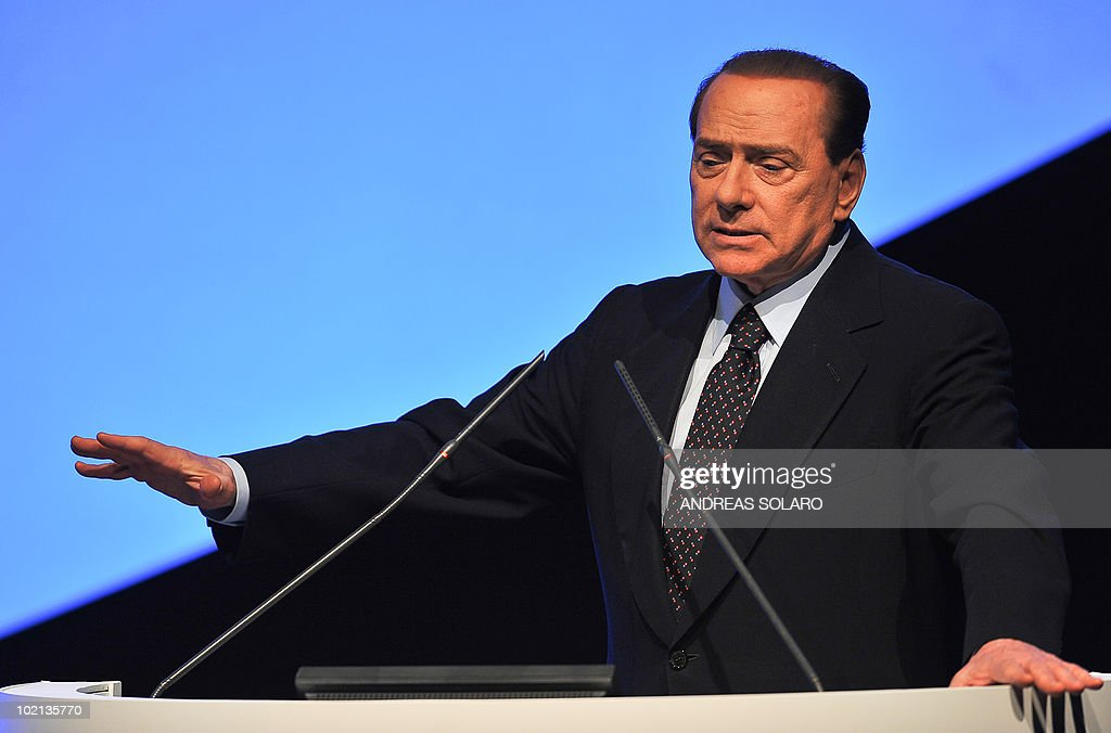 Italian Prime minister Silvio Berlusconi delivers a speech during a Congress of the Confcommercio (confederation of traders) on June 16, 2010 in Rome.