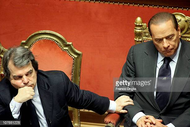 Italian Prime Minister Silvio Berlusconi delivers a speech during a debate at the Senate on December 13 2010 in Rome Italy Berlusconi is facing a...