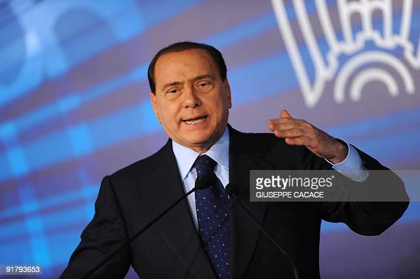 Italian Prime Minister Silvio Berlusconi delivers a speech during a meeting of the Italian employers group, the Confindustria on October 12, 2009 at...