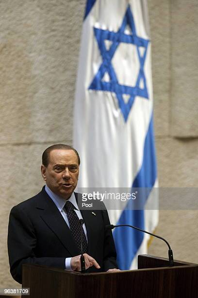 Italian Prime Minister Silvio Berlusconi delivers a speech in the Knesset on February 3 2010 in Jerusalem Israel Berlusconi is on a threeday state...