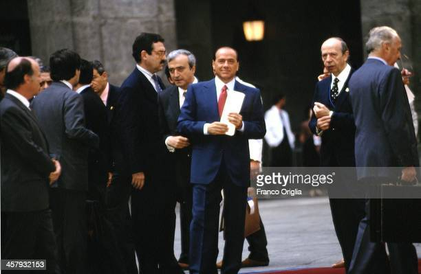 Italian Prime Minister Silvio Berlusconi during the G7 Summit at the Royal Palace of Naples Piazza del Plebiscito on July 9 1994 in Naples Italy