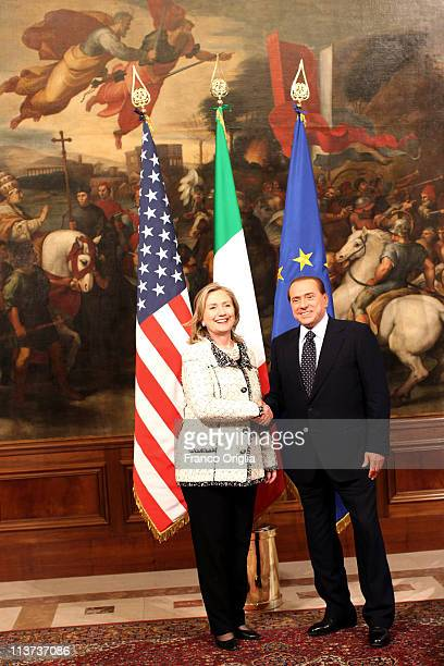 Italian Prime Minister Silvio Berlusconi meets with US Secretary of State Hillary Clinton at Palazzo Chigi on May 5 2011 in Rome Italy Clinton...