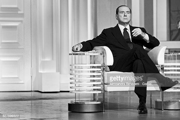 Italian Prime Minister Silvio Berlusconi on the set of RAI 1 television show Porta a Porta in Rome Berlusconi has been plagued by scandals since his...