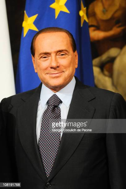 Italian Prime Minister Silvio Berlusconi poses for a photo with Somalian Prime Minister Mohammed Abdullahi Mohammed during a meeting at Palazzo Chigi...