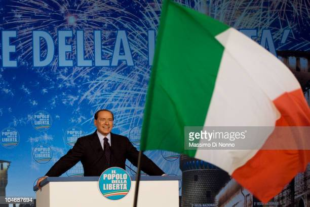 Italian Prime Minister Silvio Berlusconi speaks at the at the Festa della Liberta on October 03 2010 in Milan Italy The People of Freedom party is...