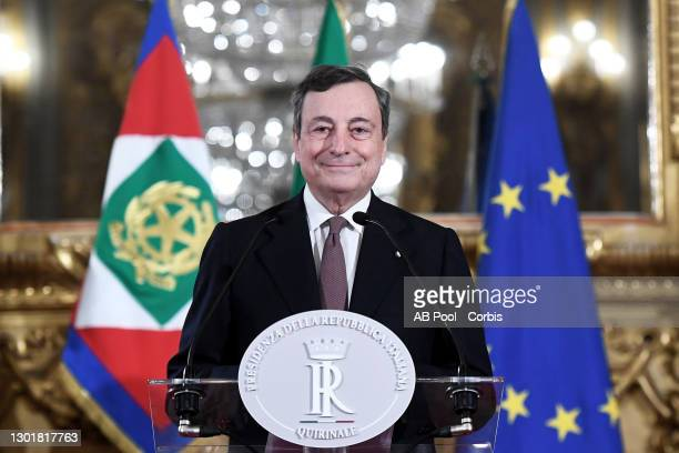 Italian Prime Minister-designate Mario Draghi, announces to the media the list of ministers forming the new government, following a meeting with...
