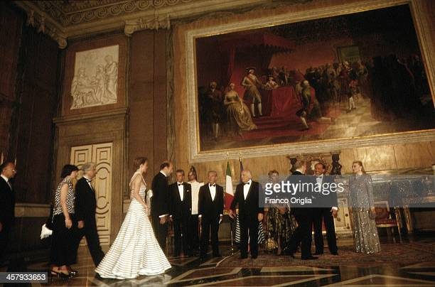 Italian Prime Minster Silvio Berlusconi and his Second wife Veronica Lario and President of the Italian Republic Oscar Luigi Scalfaro with his...