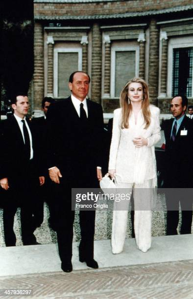 Italian Prime Minster Silvio Berlusconi and his second wife Veronica Lario attends a meeting with 42nd President of the United States Bill Clinton...