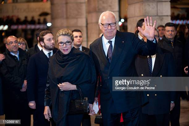 Italian Prince Vittorio Emanuele di Savoia and his wife Marina Doria arrive at the Teatro dell'Opera to attend the Giuseppe Verdi's Nabucco directed...
