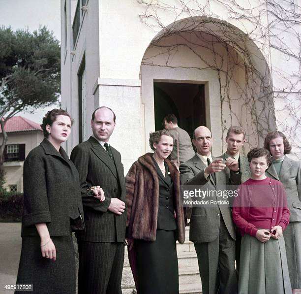 Italian Princess Maria Pia of Savoy and her husband the Prince Alexander Karadordevic of Yugoslavia the queen of Italy Marie José of Belgium and her...
