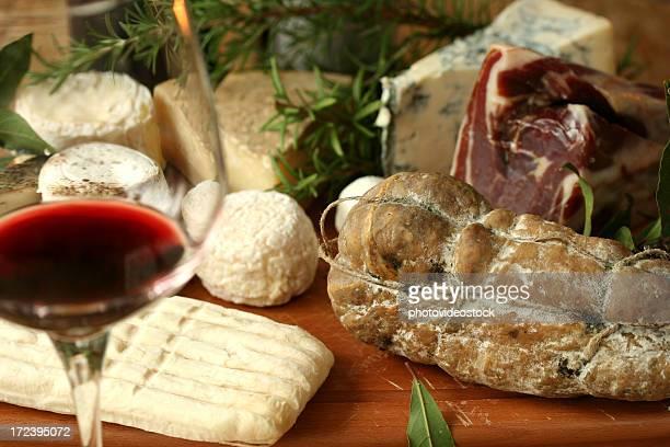 Italian products: wine, ham, cheese, salame