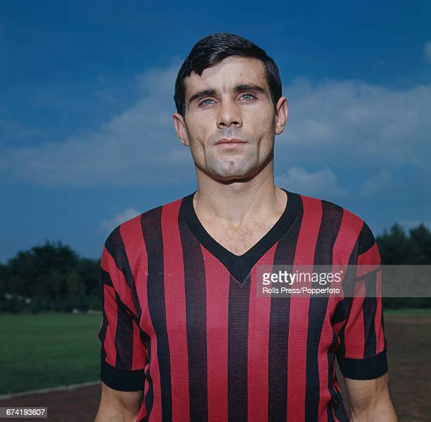 Italian professional footballer and defender with A C Milan Angelo Anquilletti pictured during a training session in Milan in January 1971