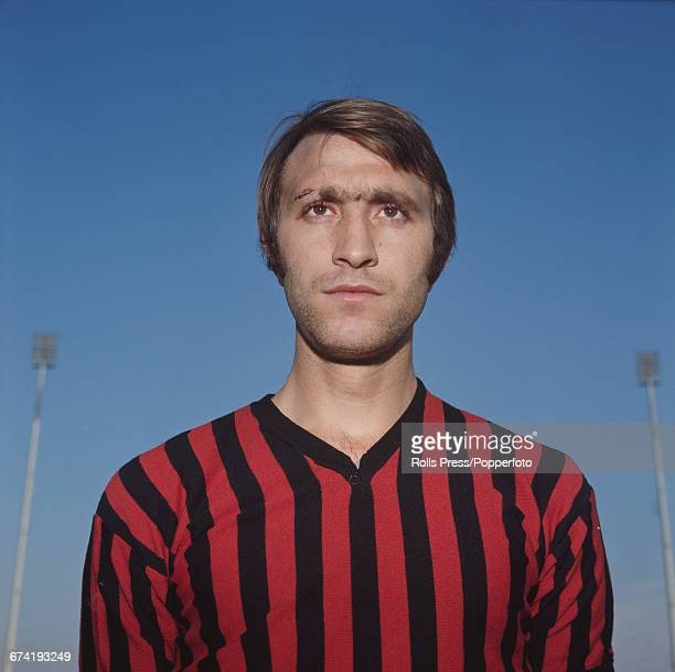 Italian professional footballer and defender with A C Milan Luigi Maldera pictured during a training session in Milan in January 1971