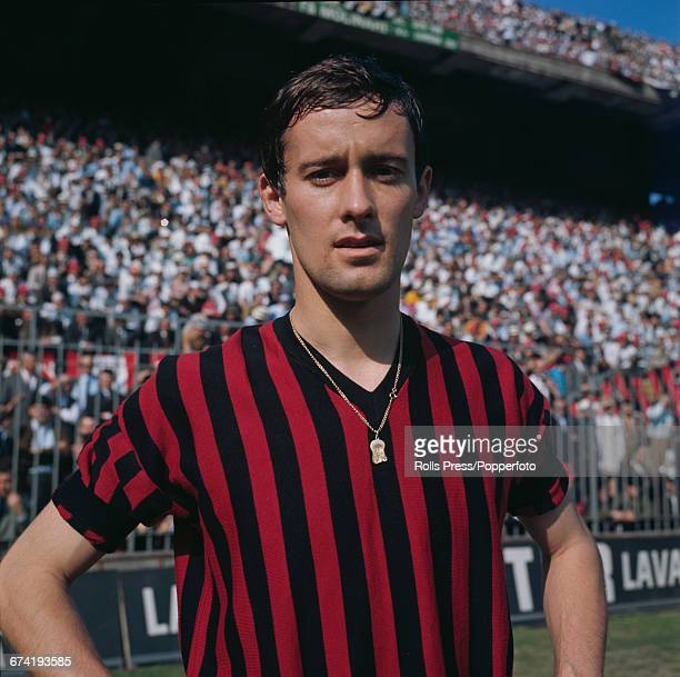 Italian professional footballer and defender with A C Milan Roberto Rosato pictured on the pitch inside the San Siro stadium in Milan in January 1971