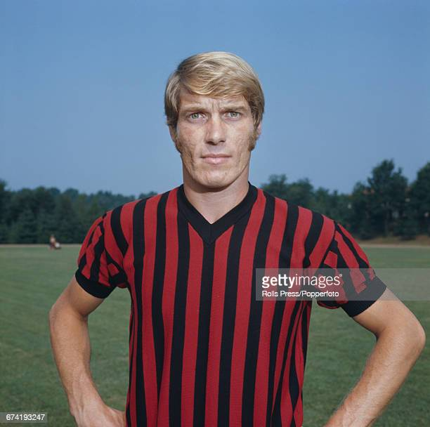 Italian professional footballer and defensive midfielder with A C Milan Romeo Benetti pictured during a training session in Milan in January 1971