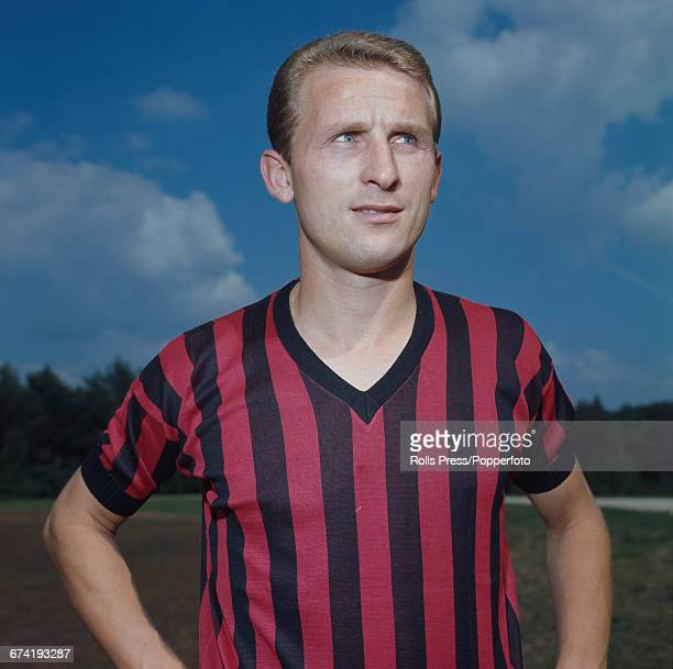 Italian professional footballer and defensive midfielder with A C Milan, Giovanni Trapattoni pictured during a training session in Milan in January...