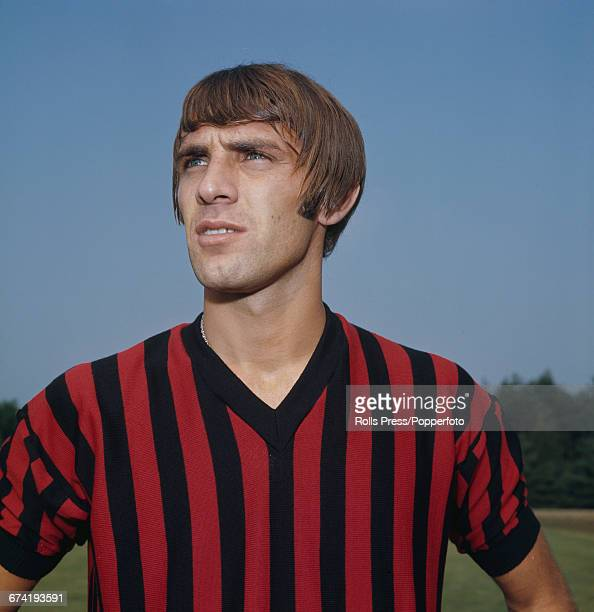 Italian professional footballer and forward with A C Milan Pierino Prati pictured during a training session in Milan in January 1971