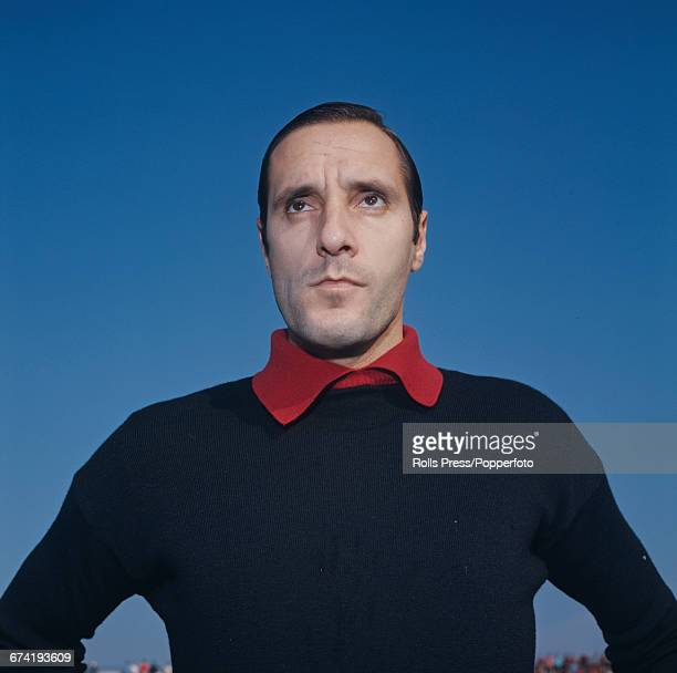 Italian professional footballer and goalkeeper with A C Milan Fabio Cudicini pictured during a training session in Milan in January 1971