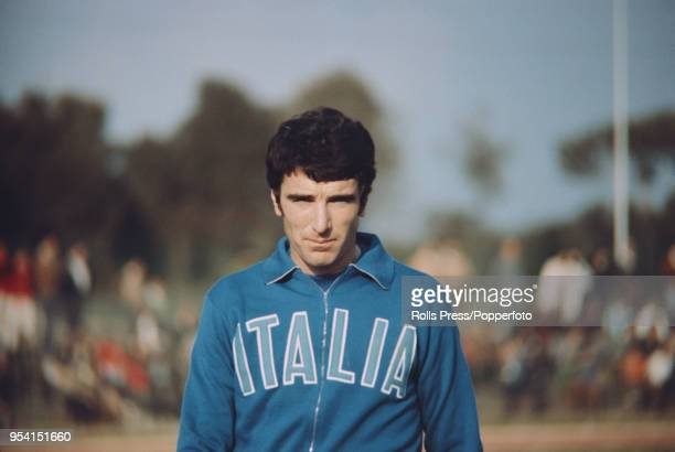 Italian professional footballer and goalkeeper with Napoli Dino Zoff pictured wearing an Italy national football team top during a training session...