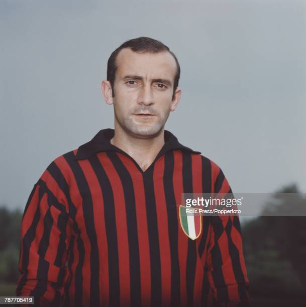 Italian professional footballer and midfielder with A C Milan Giovanni Lodetti pictured during a training session in Milan Italy in 1970