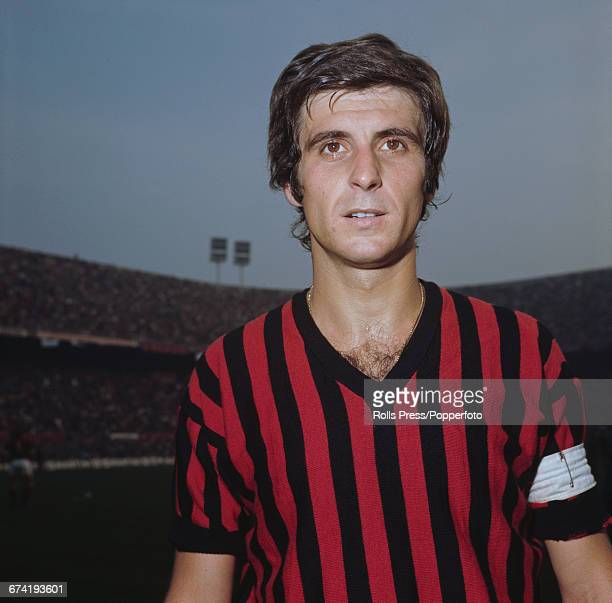 Italian professional footballer and midfielder with A C Milan Gianni Rivera pictured on the pitch inside the San Siro stadium in Milan in January 1971