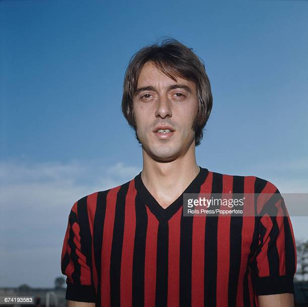 Italian professional footballer and midfielder with A C Milan Giorgio Rognoni pictured during a training session in Milan in January 1971