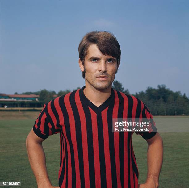 Italian professional footballer and midfielder with A C Milan Giorgio Biasiolo pictured during a training session in Milan in January 1971