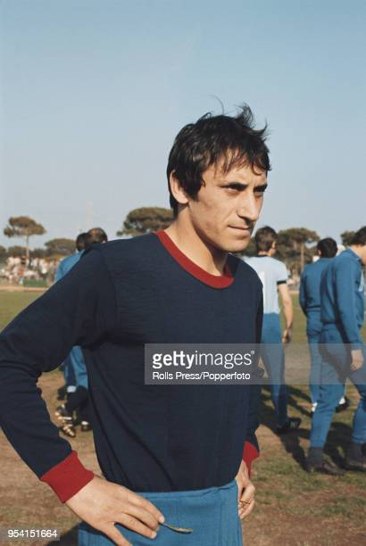 Italian professional footballer and midfielder with Juventus Giuseppe Furino pictured attending a Italy national football team training session in...