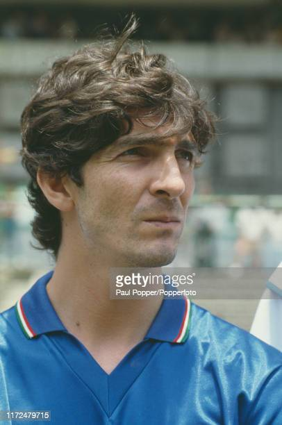 Italian professional footballer Paolo Rossi, striker with Juventus, pictured prior to playing for the Italy national team in an international match...