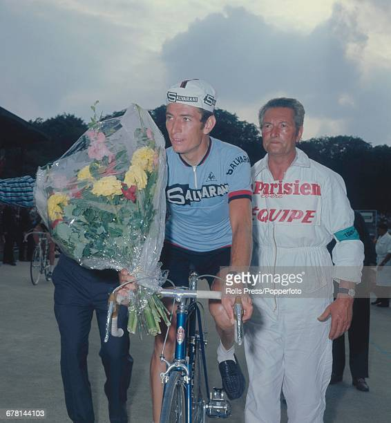 Italian professional road race cyclist Felice Gimondi pictured after finishing in fourth place after completing the final stage of the 1969 Tour de...