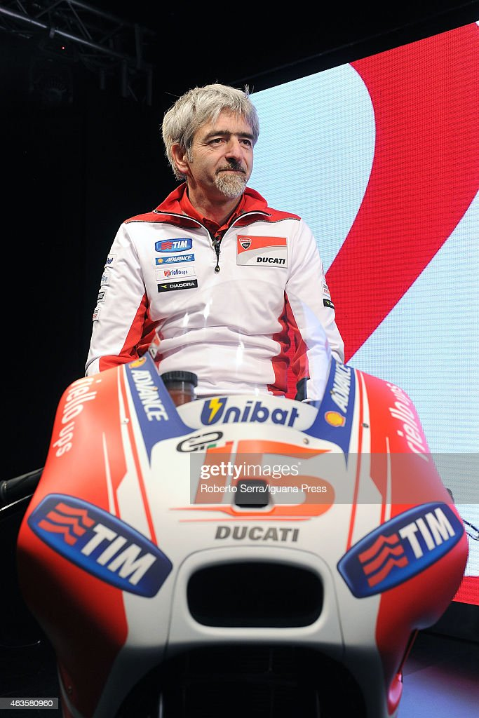 Italian project manager and engineer Luigi Dall'Igna unveils the Ducati Desmosedici Moto GP 2015 Championship at Ducati Factory on February 16, 2015 in Bologna, Italy.