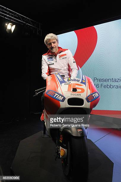 Italian project manager and engineer Luigi Dall'Igna unveils the Ducati Desmosedici Moto GP 2015 Championship at Ducati Factory on February 16 2015...