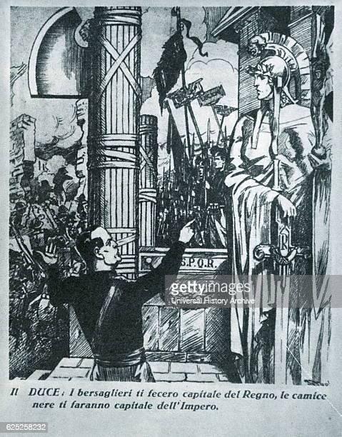 Italian propaganda depicting an illustration of Benito Mussolini an Italian politician, dictator, and journalist. Dated 20th Century.