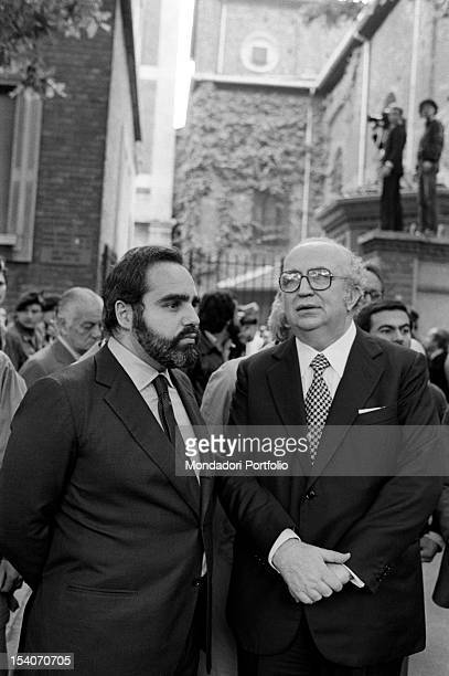 Italian publisher Angelo Rizzoli and national secretary of the Republican Party Giovanni Spadolini attending the funeral of Italian journalist Walter...