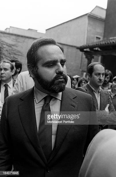 Italian publisher Angelo Rizzoli attending the funeral of Italian journalist Walter Tobagi Milan 30th May 1980