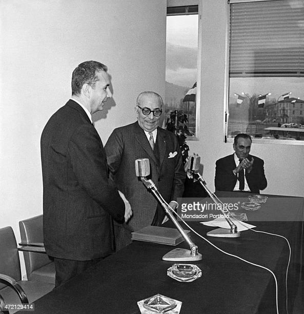 'Italian publisher Arnoldo Mondadori welcoming Italian President of the Council of Ministers Aldo Moro at Mondadori paper factory freshly inaugurated...