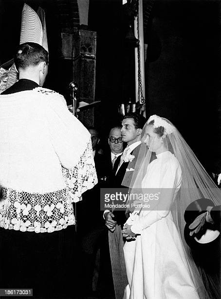 Italian publisher Giulia Maria Crespi during her fairy wedding with Italian count and architect Marco Paravicini in the basilica of Saint Babylas...