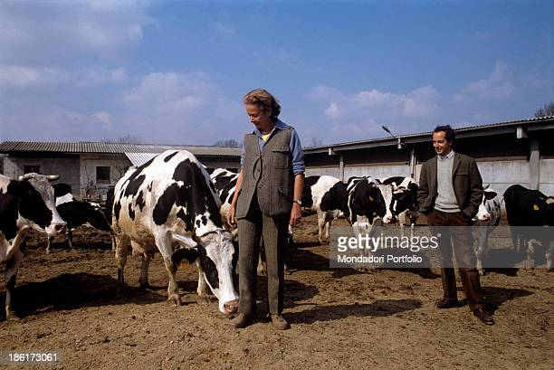 Italian publisher Giulia Maria Crespi is with her son Aldo at her farm called Zelata among the cows descended from a famous family that owned...