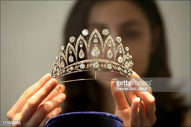Italian Queen MarieJose sells her jewels in Christie's London in Paris France in May 2007 Italian Queen MarieJose's antique diamond tiara made by...