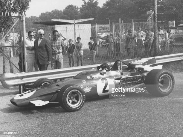 Italian race car driver and businessman Enzo Ferrari at the Monza race track 6th September 1970