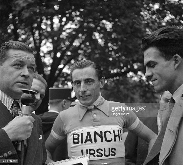 Italian racing cyclist Fausto Coppi being interviewed during the 1950 Tour de France