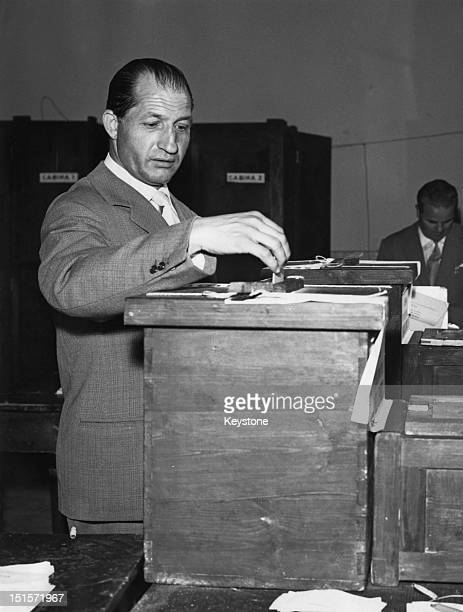 Italian racing cyclist Gino Bartali voting in the Italian general election Florence 25th May 1958