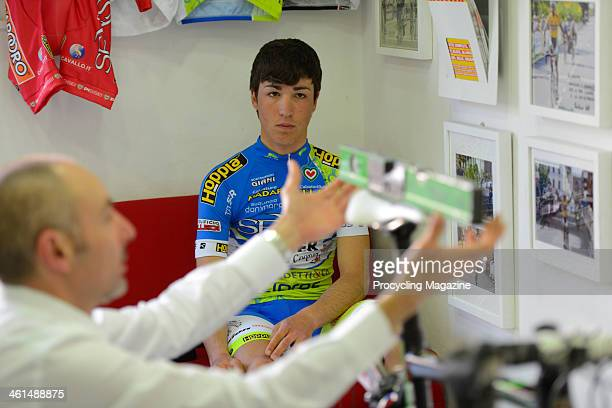 Italian racing cyclist intern Valerio Conti and bike fitter Giuseppe Giannecchini photographed at the Formigli Bikes workshop in Florence, on April...