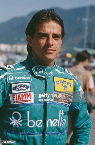 Italian racing driver Alessandro Nannini driver of the Benetton Formula Ltd Benetton B188 Ford DFR V8 pictured during the 1988 Brazilian Grand Prix...